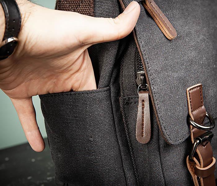 BAG504-1 Удобная городская сумка портфель из ткани серого цвета фото 05