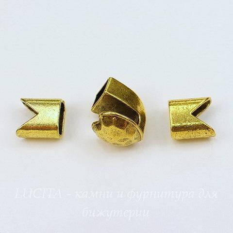 """Замок для шнура из 3х частей """"Сердце"""" 15х15х14 мм, 13х12 мм (цвет - античное золото)"""
