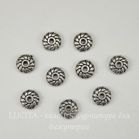 Бусина металлическая - спейсер (цвет - античное серебро ) 6х1,7 мм, 10 штук