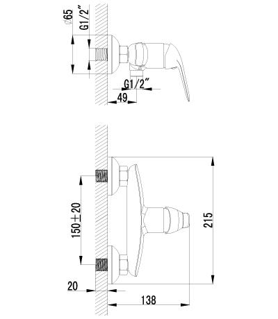 Смеситель для душа LEMARK PLUS ADVANCE LM1203C