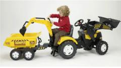 Трактор-экскаватор педальный с прицепом 225 см