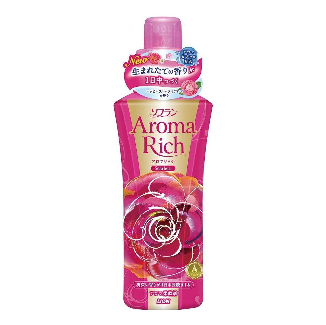 Ополаскиватель, Lion, Soflan Aroma Rich Scarlett, с натуральными ароматическими маслами, 600 мл