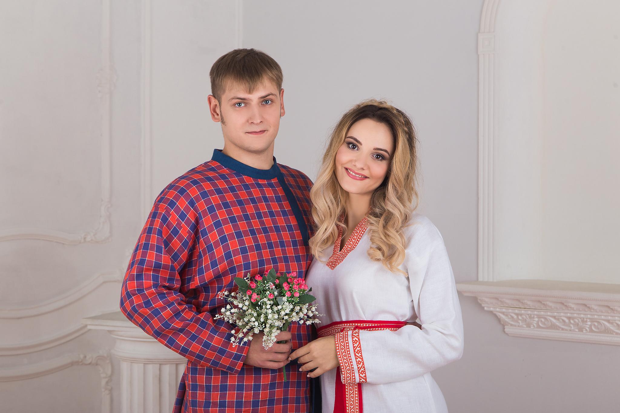 Русская косоворотка в клетку от Иванки