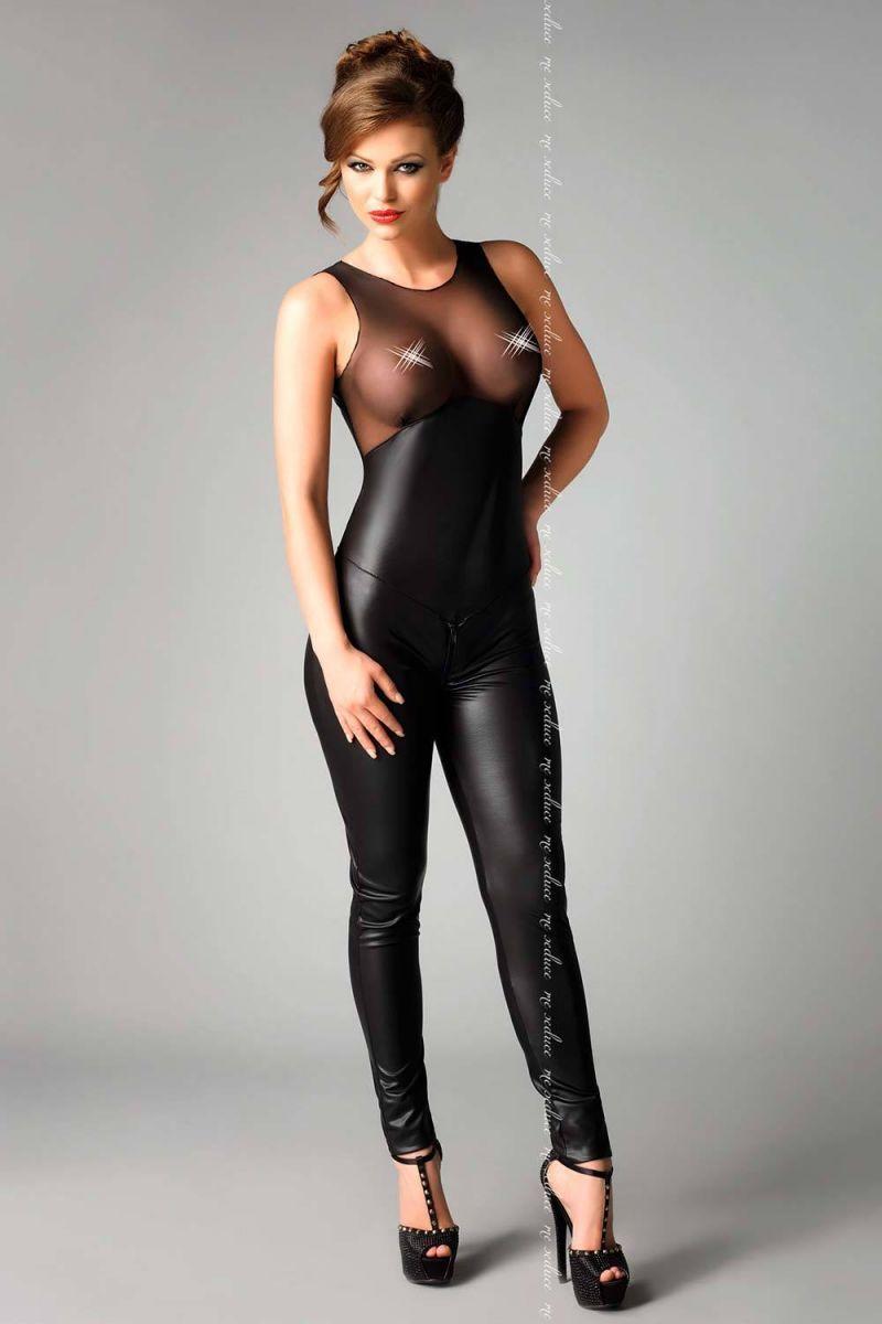 БОЛЬШИЕ размеры: Сексуальный комбинезон с прозрачным верхом Demi
