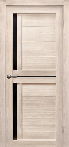 Дверь Эколайт Дорс Медиана, стекло чёрное лакобель, цвет лиственница кремовая, остекленная