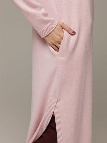 Женское розовое платье с разрезами из шерсти и кашемира - фото 4