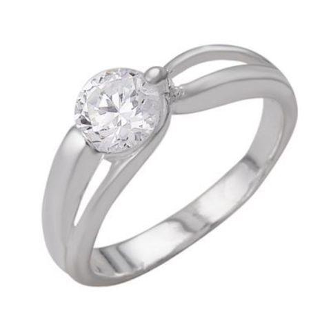 Кольцо с фианитами и серебрением
