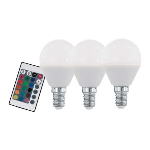 Лампа RGB LED диммируемая с пультом ДУ Eglo RGB-W INFRARED LM-LED-E14 3X4W 300Lm 3000K RGBW-P45 10683
