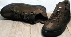 Сникерсы коричневые мужские демисезонные Luciano Bellini 71748 Brown