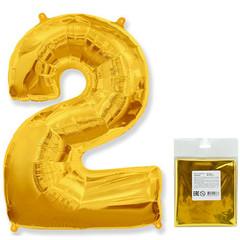 Цифра, 2, Золото, F 40''/102 см, 1 шт. в упаковке