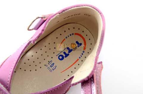 Босоножки Тотто из натуральной кожи с открытым носом для девочек, цвет сирень. Изображение 11 из 12.