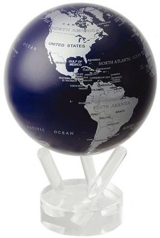 Глобус MOVA GLOBE Политическая карта мира 12 см синий/серебро