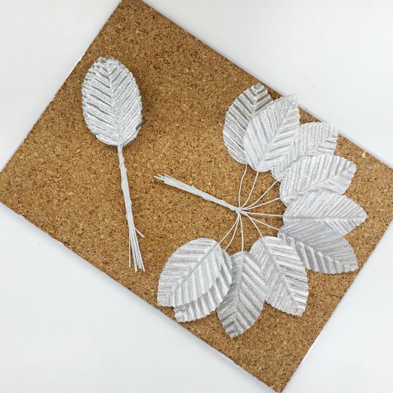 Листья из ткани на проволоке, серебро