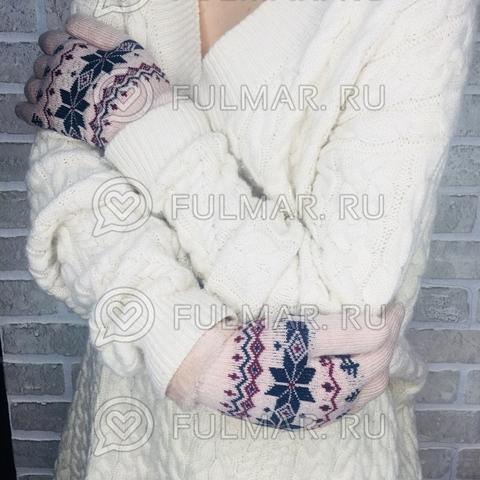 Перчатки со снежинками шерстяные (цвет: бежевый)