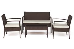 Лаундж сет (диван+2кресла+столик+подушки) (mod. 210000) — коричневый (ткань: DB-02 бежевый)