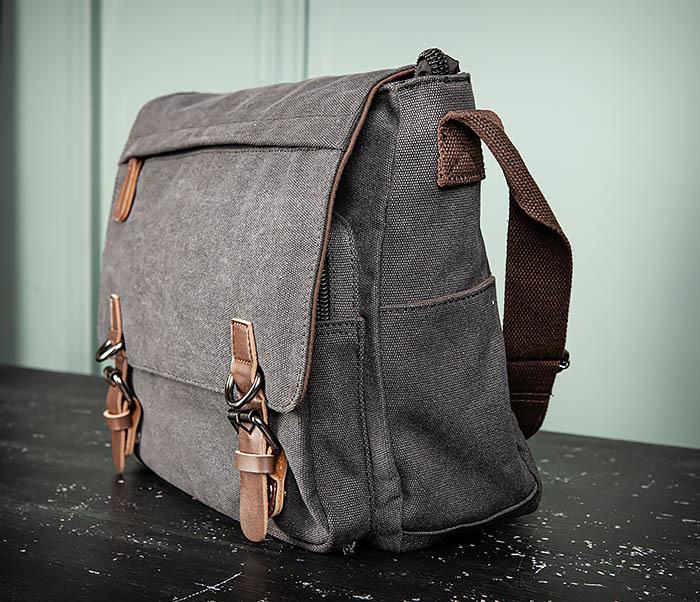 BAG504-1 Удобная городская сумка портфель из ткани серого цвета фото 06