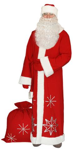 Костюм Деда Мороза Серебристые снежинки красный