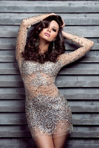 Jovani 7757 платье короткое, прозрачное, усыпанное камнями