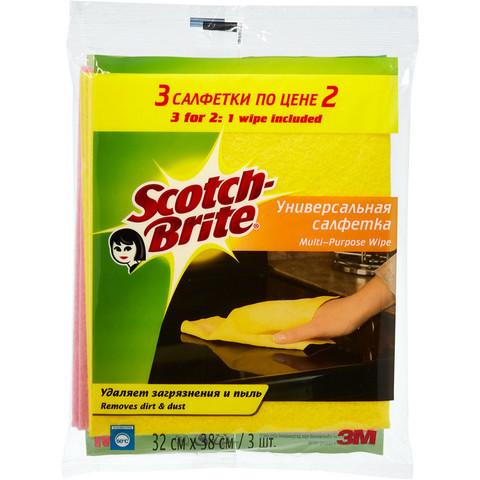 Салфетки Scotch-Brite вискоза 120 г/м 32х38 см 3 шт/уп