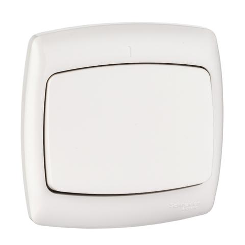 Выключатель одноклавишный 6 А 250 В. Цвет Белый. Schneider Electric(Шнайдер электрик). Rondo(Рондо). S16-067-BI