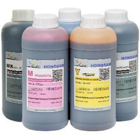 Комплект водных чернил для Canon imagePROGRAF TM-200, TM-205, TM-300, TM-305. Набор 5 цветов по 1000 мл.