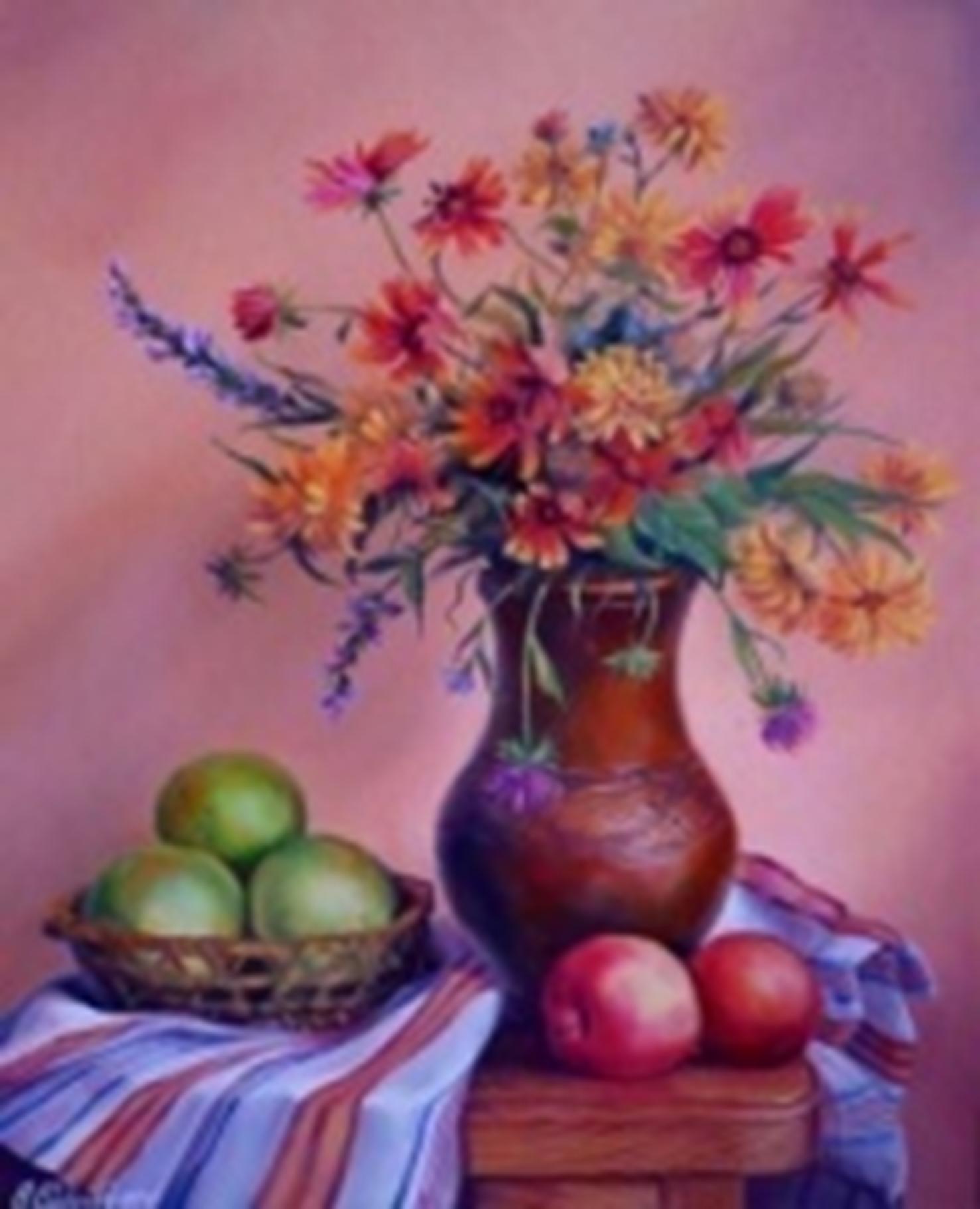 Картина раскраска по номерам 30x40 Цветы в вазе и фрукты ...