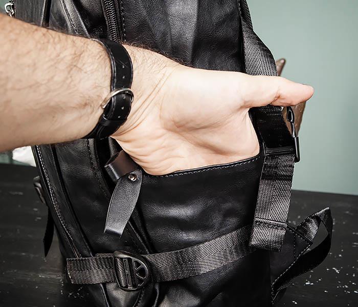 BAG483-1 Недорогой мужской городской рюкзак из кожи фото 10