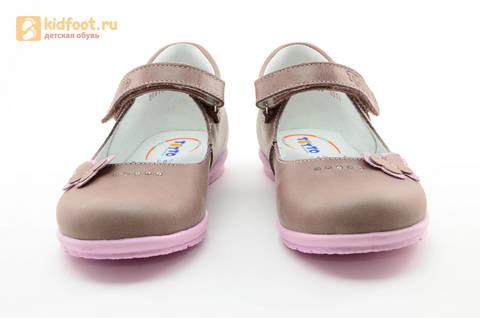 Туфли Тотто из натуральной кожи на липучке для девочек, цвет ирис серобежевый, 10204B. Изображение 5 из 16.