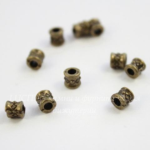 """Бусина металлическая """"Ромбики"""" 4х4 мм (цвет - античная бронза), 10 штук"""