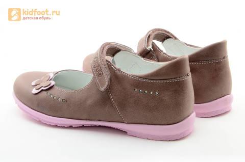 Туфли Тотто из натуральной кожи на липучке для девочек, цвет ирис серобежевый, 10204B. Изображение 7 из 16.