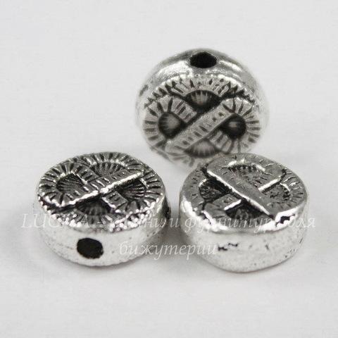 """Бусина металлическая """"Узелок"""" (цвет - античное серебро) 10х4 мм"""