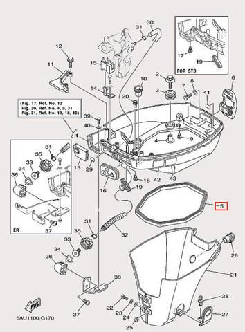 Уплотнитель поддона для лодочного мотора F9,9 Sea-PRO (16-5)