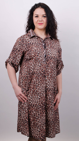 Палма. Красивое платье-рубашка больших размеров. Леопард бежевый.