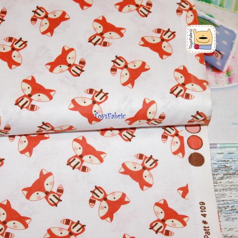 Ткань для пэчворка 20813 (лисички на белом) 45х55см