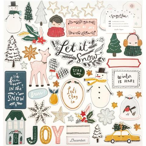 Чипборд Snowflake Chipboard Stickers -W/Copper Foil Accents -49 шт
