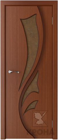 Дверь Крона Лидия, стекло дельта-бронза, цвет макоре, остекленная