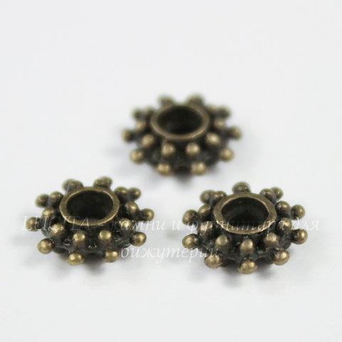 Бусина металлическая - рондель Снежинка (цвет - античная бронза) 9х3 мм, 10 штук