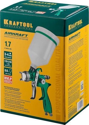 Краскопульт пневматический KRAFTOOL AirKraft, HVLP, с верхним бачком, 1,7мм