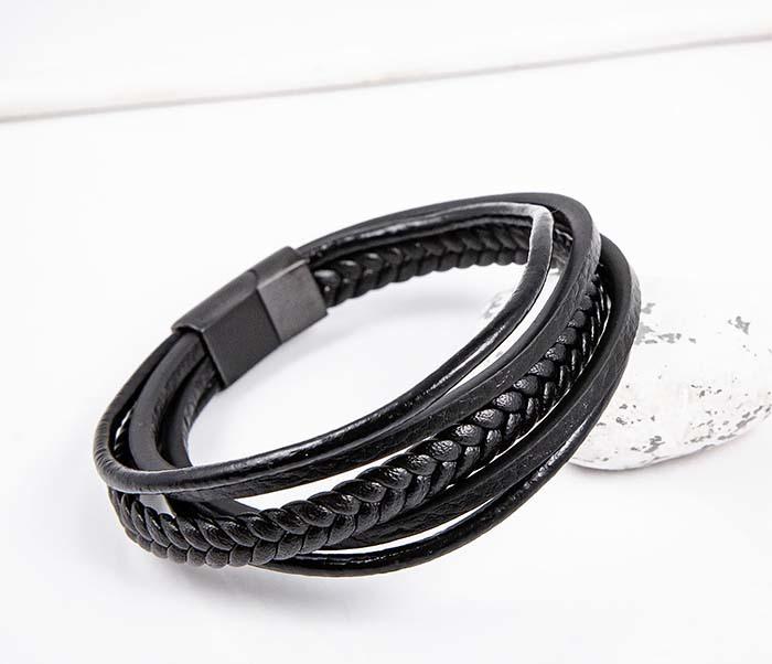 BM593 Мужской браслет из черных кожаных шнуров