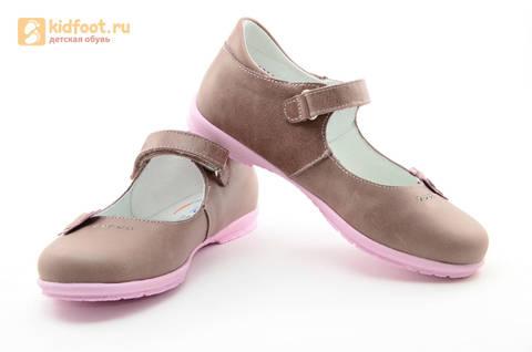 Туфли Тотто из натуральной кожи на липучке для девочек, цвет ирис серобежевый, 10204B. Изображение 10 из 16.