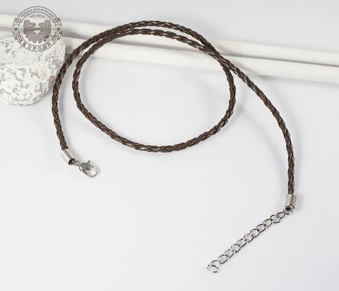 PL260-2 Кожаный шнур коричневого цвета с застежкой (46,5-51 см)