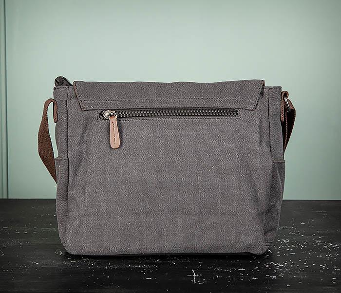 BAG504-1 Удобная городская сумка портфель из ткани серого цвета фото 07