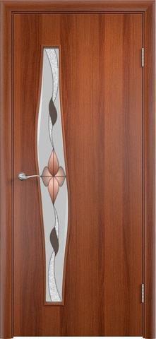 Дверь Верда Волна стекло Сара, художественное стекло Сара, цвет итальянский орех, остекленная