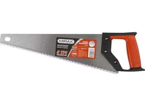 Ножовка по дереву (пила) MIRAX Universal 400 мм, 5 TPI, рез вдоль и поперек волокон, для крупных и средних заготовок
