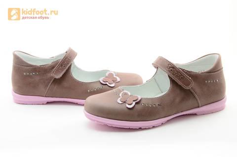 Туфли Тотто из натуральной кожи на липучке для девочек, цвет ирис серобежевый, 10204B. Изображение 11 из 16.
