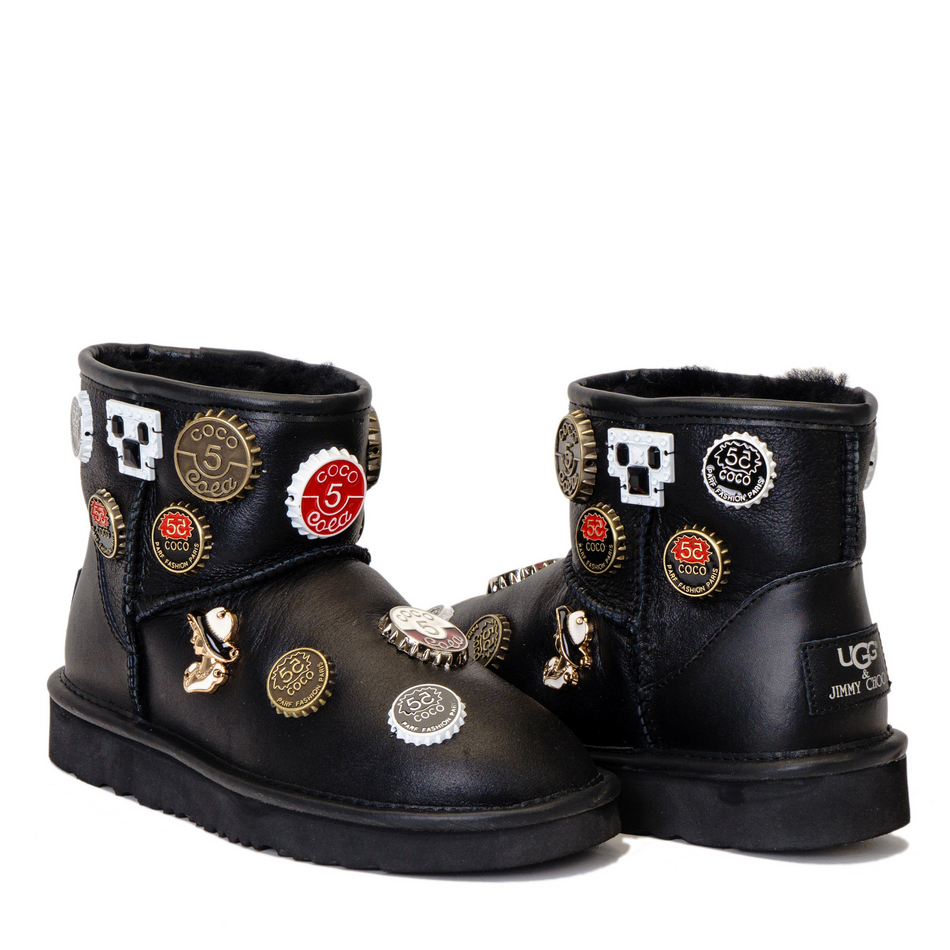 Женские угги UGG Jimmy Choo Mini Coco Chanel Black