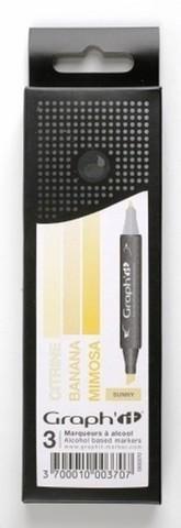 Набор маркеров GRAPH'IT SUNNY 3шт. оттенки желтого