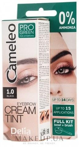 Delia Cosmetics Крем-краска для бровей тон 1.0 черный CAMELEO PRO GREEN