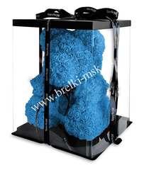 Голубой мишка из 3D роз с черной фирменной лентой 40 см.