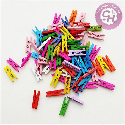 Прищепки декоративные, 3,5 см, 1 шт, разноцветные.
